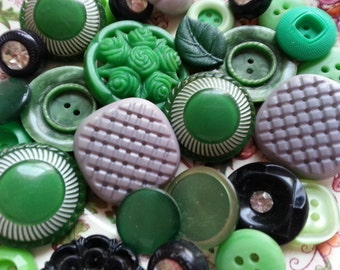 Cottage Chic Buttons ... Purple Greens Black ... Vintage Buttons