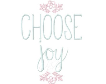 Choose Joy Embroidery Font Design Instant Download Typography