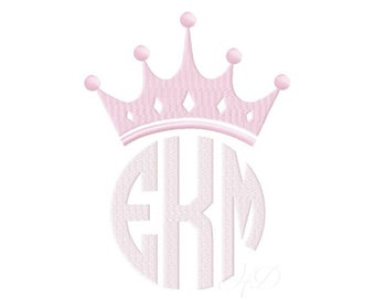 Princess Crown Embroidery Design Applique File 4x4 5x7 6x10 Instant Download BX PES