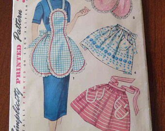 Vintage 50s Simplicity 4479 Set of Aprons Sewing Pattern One Size Complete