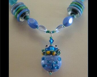 Spring Ladybug Aqua Choker Necklace BY Cornerstoregoddess