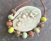 Autumn ridged seed pods handmade porcelain bead necklace -sale