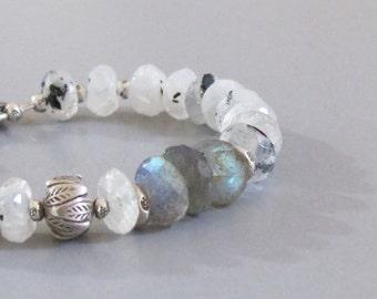 White Labradorite Sterling Silver Bead Bracelet DJStrang Blue Color Flashing Gemstone Boho Cottage Chic