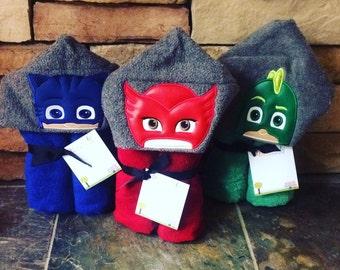 PJ Masks Inspired Hooded Towel Owlette Gekko Cat Boy, Large Kids Hooded Towel