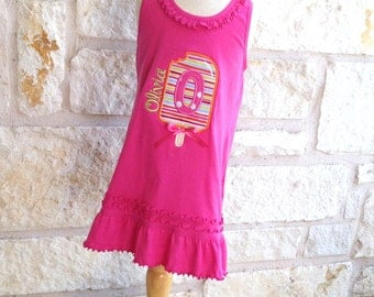 Popsicle Personalized Summer Appliqued Hot Pink Ruffle Dress