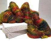"fiber art batt, wool, roving, spinning, felting ""Holly"", yellow green, hunter green, olive, red, Christmas color"