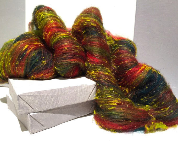 "Featured listing image: fiber art batt, wool, roving, spinning, felting ""Holly"", yellow green, hunter green, olive, red, Christmas color"