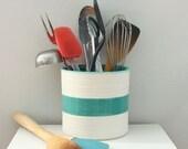RESERVED Modern Porcelain Utensil Crock in Turquoise - Pottery Kitchen Crock