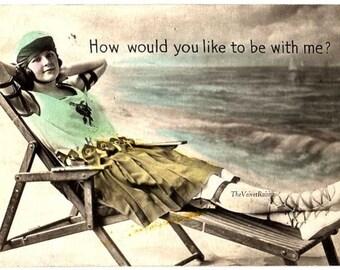 Instant Digital download*Bathing beauty post card image*Humor*Wonderful