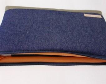 "12 inch MacBook Case Laptop Cover 11.6"" HP Spectre x360 13t, Unisex Laptop Sleeve - Blue Denim"