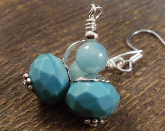 SALE Turquoise blue jade stone, glass and silver handmade earrings