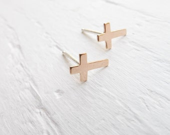 Gold Cross Studs Earring Posts Tiny Crosses Baptism Gifts Minimal Jewelry Faith Jewelry