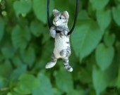 Tiny Needle Felted Cat Necklace or Sculpture