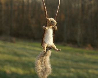 Tiny Squirrel Necklace - needle felted