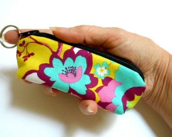 SALE Mini Key Chain Zipper Pouch ECO Friendly Padded Lip Balm Case NEW Yellow Pop Floral