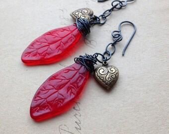 Huntsman Earrings - Fairytale Jewelry - Gothic Earrings - Vintage Glass and Sterling Silver