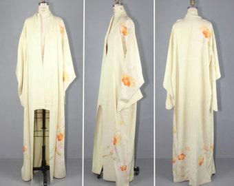 1950s / embroidered / vintage kimono / SWEET PEACH silk kimono