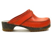 Vintage Danish Clogs / Red Leather Slip On Clogs with Wooden Soles / Women's size 8 or 7.5