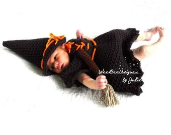 newborn baby witch costume photography prop hat, dress and broom included
