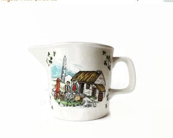Carrigaline Pottery Creamer, Thatched Roof Cottage Scene, Made in Ireland,  vestiesteam, vintageandmain