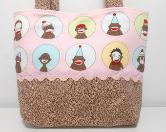 Small Sock Monkey Tiny Tote Bag or Gift Bag Child Size Purse