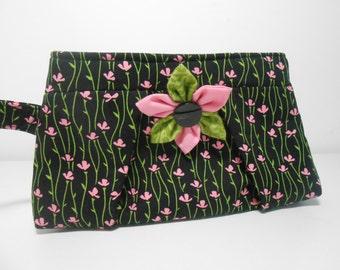 Pleated Wristlet, Black and Pink Flower Wristlet, Kanzashi Brooch