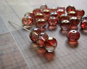 Brandy Lumi Beads 9 x 6 mm Faceted Glass Rondelle Lumi finish 10 Beads