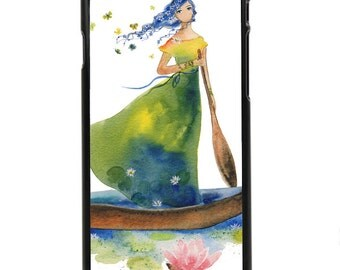 """Phone Case """"Daydream Believer"""" - Watercolor Art Print Woman Rowing Boat Flower Hair Lillies Lady of Shallot By Olga Cuttell"""