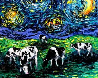 Starry Night Cow Art print Starry Starry Pasture by Aja 8x8, 10x10, 12x12, 20x20, and 24x24 inch sizes Cows farm art country decor