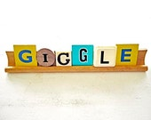 Scrabble Vintage Game Letters Saying Giggle Display Sign