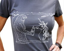 Mothers Day Sale Sasquatch & Unicorn Women's Graphic Tee Shirt-Hand Printed Cotton, Gift for Women, Vneck, Asphalt Grey,Unicorn lover shirt,