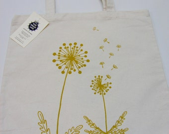 Dandelion Canvas Tote Bag,  Hand Printed Market Tote, Book Bag, Hostess Gift, Teachers Gift