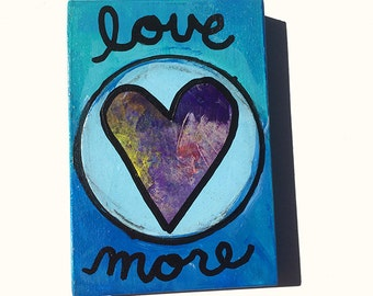 Love More - Original Heart Painting, Mixed Media Art by Claudine Intner - Blue, Small, 3 1/2 x 5 inches