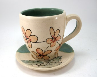 flowers cup and saucer
