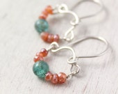 Apatite and Mystic Carnelian Mini Hoop Silver Earrings