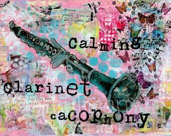 CLARINET art | clarinet painting | musical art | Fine art print |  mixed media | collage art | FRAMEABLE PRINT