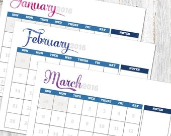 Printable and Editable 2016 12-month calendar 8.5x11