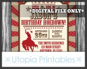 Birthday Hoedown Invitation Cowboy Theme Party Rustic Rodeo Country Western Old West Party Digital Printable Customized Red Brown DIY Horse