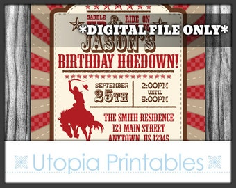 Cowboy Birthday Invitation Hoedown Theme Party Rustic Rodeo Country Western Party Digital Printable Customized Red Brown DIY Horse