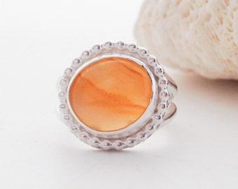 Orange Stone Ring, Lake Superior Agate, Sterling Silver Ring, Size 5 3/4 Artisan Metalsmith Ring, Orange Ring, Boho Chic Silversmith Ring