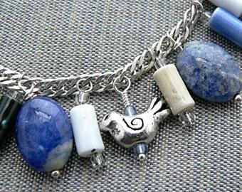 Blue Bird Charm Bracelet, Sterling Silver Chain, Sodalite