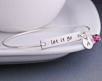 Let It Go Bracelet, Personalized Inspirational Jewelry, Custom Bar Bracelet, Bangle Bracelet, Motivational Jewelry