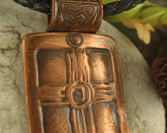 Rustic Cross Spiral in Copper, Copper Cross Pendant, Cross Jewelry Necklace, Faith Jewelry