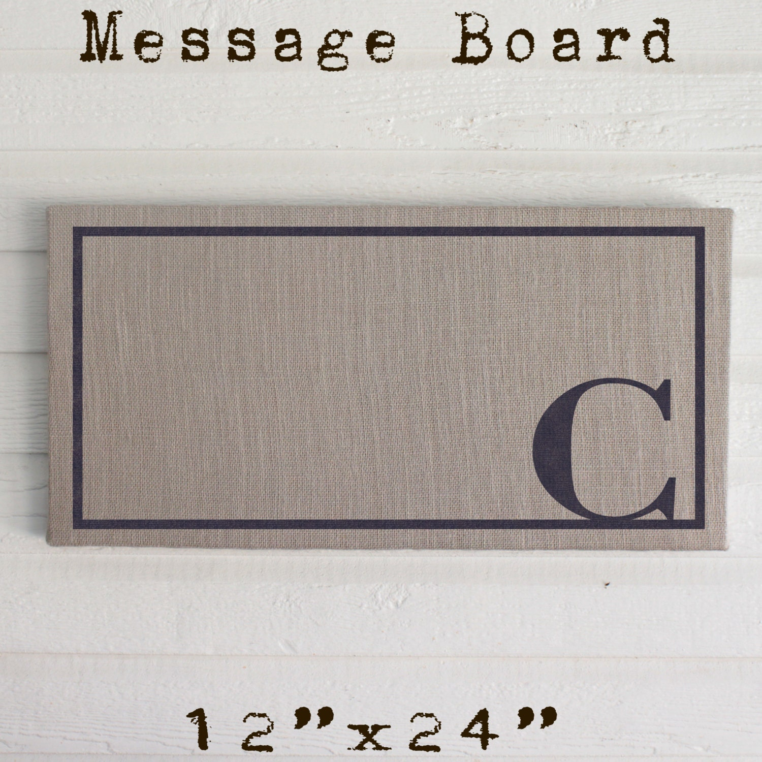 classic monogram 12x24 burlap covered cork message board letter pin board cork board bulletin board memo board custom