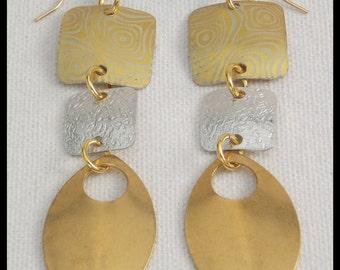 GLAMOUR - Elegant Long Handforged Tri-Metal Statement Earrings