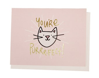 You're Purr-fect, Gold Foil Notecard