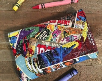 Crayon Wallet, Kids Wallet, Crayon Holder, Marvel Comics, Boys Wallet, Travel crayon
