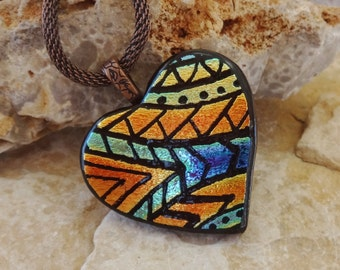 Dichroic Glass Valentine Heart Pendant,  Fused Glass Hand Etched Pendant, Fused Glass Heart Pendant, Zentangle Pendant  - Southwest Sunrise