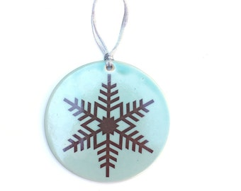 Ceramic Ornament in Turquoise Green with Snowflake