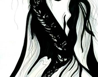 Black and white,Original Art,Horse,Animal art,Illustration,Inks,Lillienne Lang,One of a kind,Minimal,Modern,Zen,Modern art,Sketch of a horse